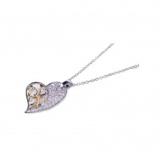 Sterling Silver Clear CZ Gold Rhodium Plated Heart Pendant Necklace - BGP00116
