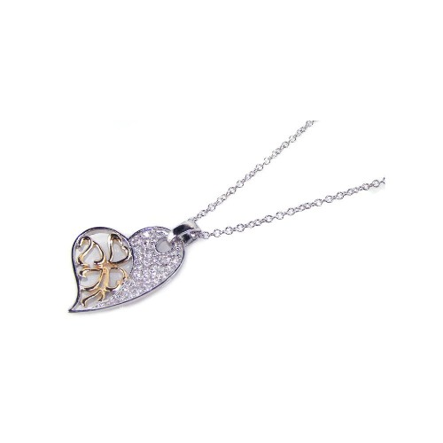 Wholesale Sterling Silver 925 Clear CZ Gold Rhodium Plated Heart Pendant Necklace - BGP00116