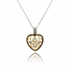 Sterling Silver Clear CZ Gold Plated Heart Pendant Necklace - BGP00117