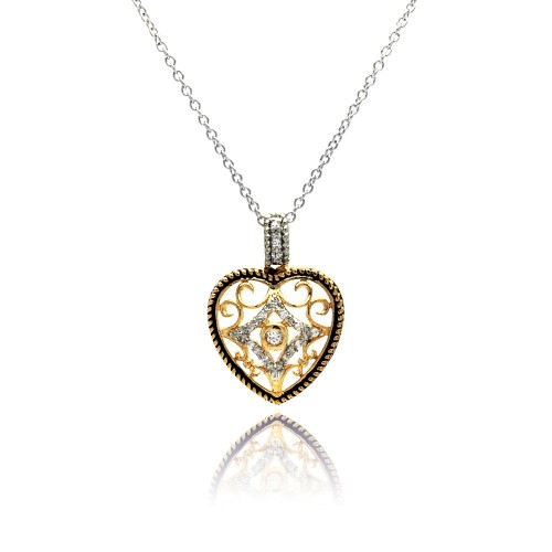 Wholesale Sterling Silver 925 Clear CZ Gold Plated Heart Pendant Necklace - BGP00117