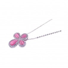 **Closeout** Sterling Silver Clear CZ Pink Cat Eye Rhodium Plated Cross Pendant Necklace - BGP00119