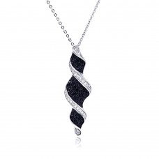 **Closeout** Sterling Silver Black and Clear CZ Black and Rhodium Plated Twist Drop Pendant Necklace - BGP00120