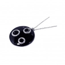 **Closeout** Sterling Silver Clear CZ Black Onyx Rhodium Plated Circle Disc Pendant Necklace - BGP00122