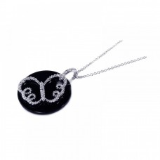 **Closeout** Sterling Silver Clear CZ and Onyx Rhodium Plated Butterfly Pendant Necklace - BGP00125