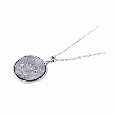 **Closeout** Sterling Silver Clear CZ Mother Pearl Rhodium Plated Round Circle Pendant Necklace - BGP00127