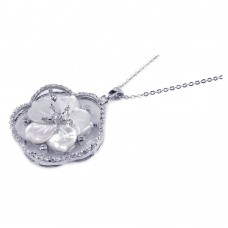 **Closeout** Sterling Silver Clear CZ Mother Pearl Rhodium Plated Flower Pendant Necklace - BGP00128