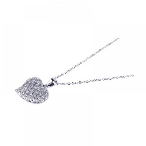 Wholesale Sterling Silver 925 Clear CZ Rhodium Plated Heart Pendant Necklace - BGP00130
