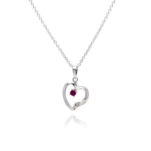 Wholesale Sterling Silver 925 Red CZ Rhodium Plated Heart Pendant Necklace - BGP00134