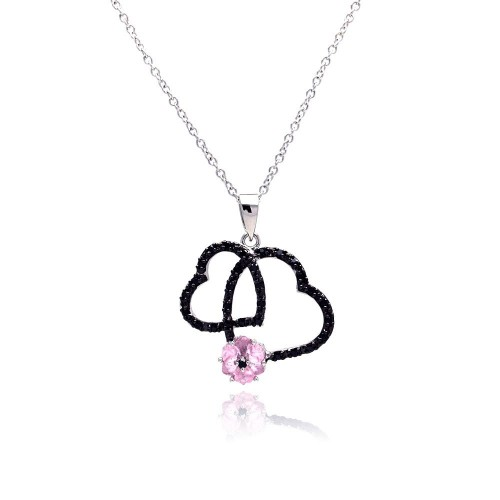 Wholesale Sterling Silver 925 Black Rhodium Plated Open Double Heart CZ Pink Pearl Necklace - BGP00138
