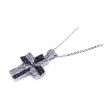 **Closeout** Sterling Silver Black and Clear CZ Black Rhodium Plated Cross Pendant Necklace - BGP00140