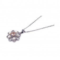 **Closeout** Sterling Silver Champagne CZ Rhodium Plated Flower Pendant Necklace - BGP00143