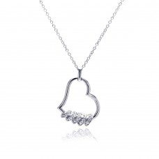 Sterling Silver Clear CZ Rhodium Plated Heart Pendant Necklace - BGP00144