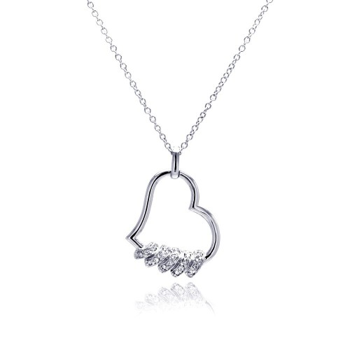 Wholesale Sterling Silver 925 Clear CZ Rhodium Plated Heart Pendant Necklace - BGP00144