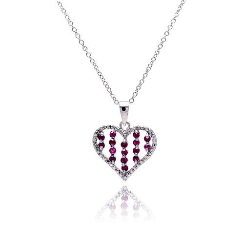 Wholesale Sterling Silver 925 Red CZ Rhodium Plated Heart Pendant Necklace - BGP00149