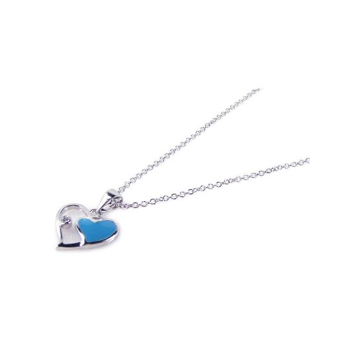 Wholesale Sterling Silver 925 Rhodium Open Double Heart Blue Enamel Inlay Necklace - BGP00151