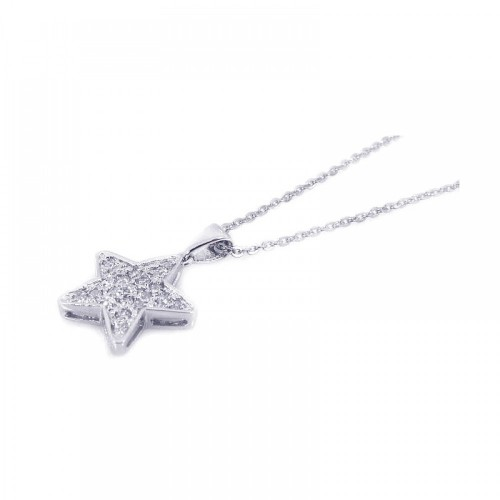 -Closeout- Wholesale Sterling Silver 925 Clear CZ Rhodium Plated Starfish Pendant Necklace - BGP00154