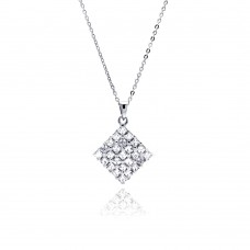 Sterling Silver Clear CZ Rhodium Plated Square Pendant Necklace - BGP00156
