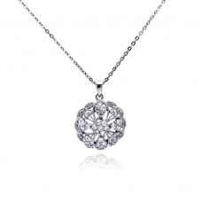 **Closeout** Sterling Silver Clear CZ Rhodium Plated Filigree Pendant Necklace - BGP00158