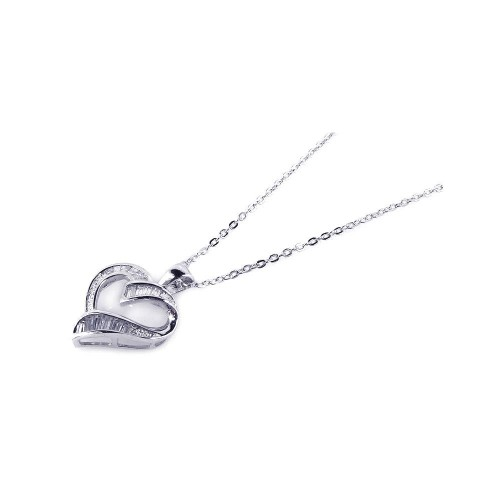 Wholesale Sterling Silver 925 Clear CZ Rhodium Plated Heart Pendant Necklace - BGP00161