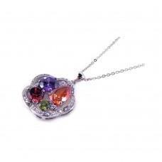 **Closeout** Wholesale Sterling Silver 925 Multi Color CZ Rhodium Plated Flower Pendant Necklace - BGP00163