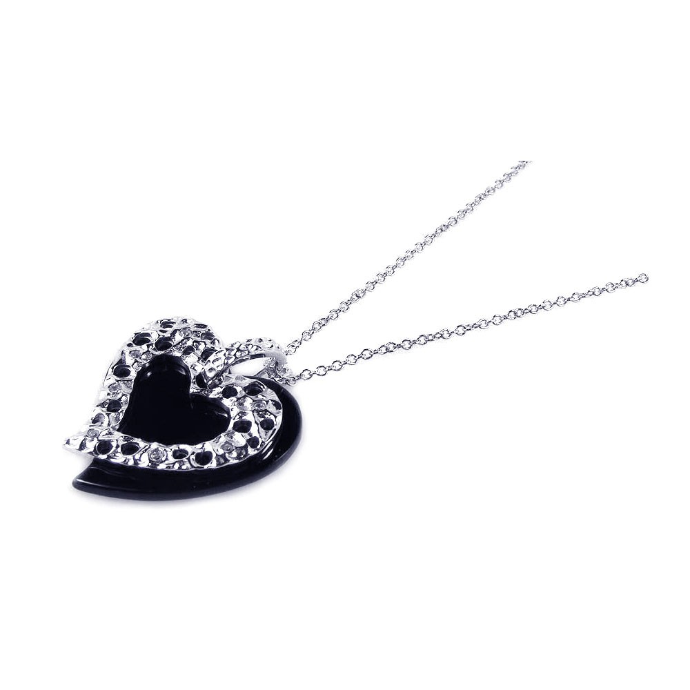 Wholesale Sterling Silver 925 Black Onyx Rhodium Plated Heart Pendant Necklace - BGP00164