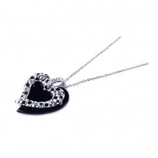 Sterling Silver Black Onyx Rhodium Plated Heart Pendant Necklace - BGP00164