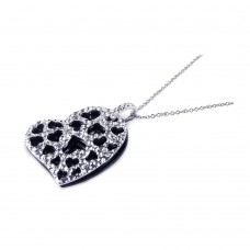 Sterling Silver Black Onyx Rhodium Plated Heart Pendant Necklace - BGP00165
