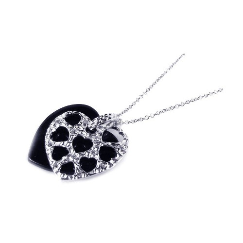 Wholesale Sterling Silver 925 Black Onyx Rhodium Plated Heart Pendant Necklace - BGP00166