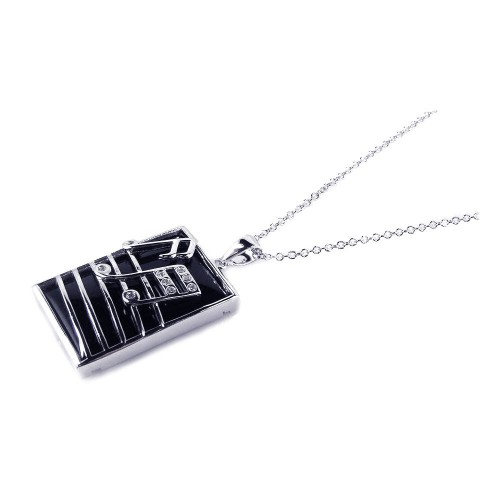 -CLOSEOUT- Wholesale Sterling Silver 925 Rhodium Plated Square Music Note Black Onyx CZ Dangling Necklace - BGP00167