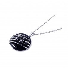 ***CLOSEOUT*** Sterling Silver Rhodium Plated Black Onyx Round Music Note Dangling Necklace - BGP00168