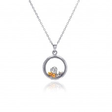 Sterling Silver Gold and Rhodium Plated Graduated Multicolor Heart CZ Open Circle Necklace - BGP00172