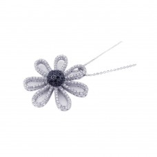 **Closeout** Wholesale Sterling Silver 925 Black and Rhodium Plated Flower CZ Necklace - BGP00173