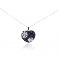 **Closeout** Sterling Silver Black and Rhodium Plated Flower Design Black Heart CZ Necklace - BGP00175