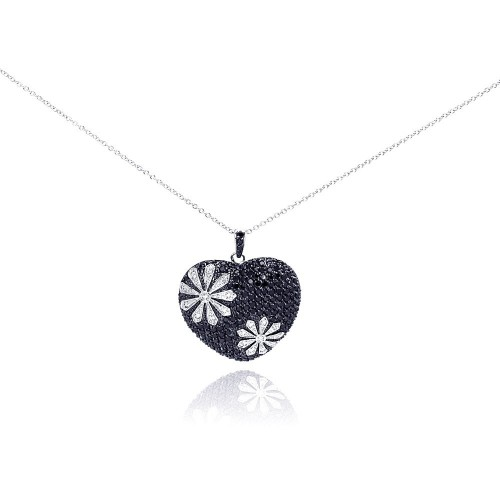 -Closeout- Wholesale Sterling Silver 925 Black and Rhodium Plated Flower Design Black Heart CZ Necklace - BGP00175