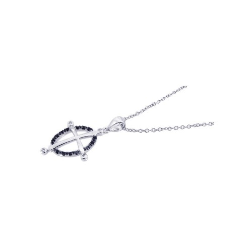 Wholesale Sterling Silver 925 Rhodium Plated Open Black Circle Cross CZ Necklace - BGP00178