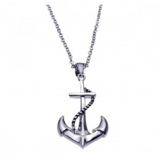 Sterling Silver Rhodium Plated Anchor Rope Necklace - BGP00180