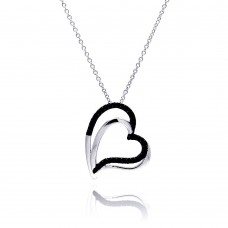 Sterling Silver Black Rhodium and Rhodium Plated Double Black Heart CZ Necklace - BGP00181