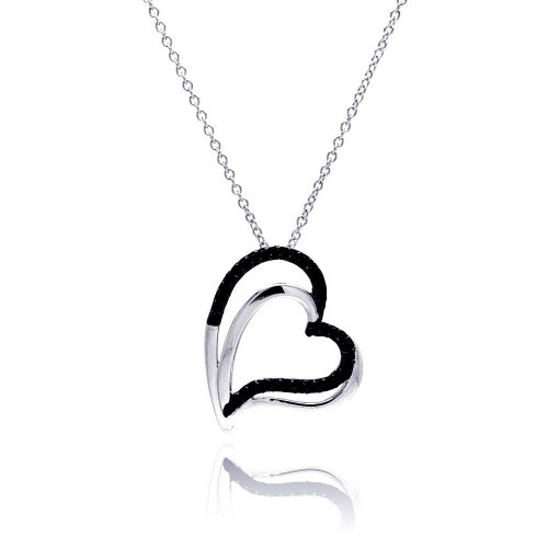 Wholesale Sterling Silver 925 Black Rhodium and Rhodium Plated Double Black Heart CZ Necklace - BGP00181