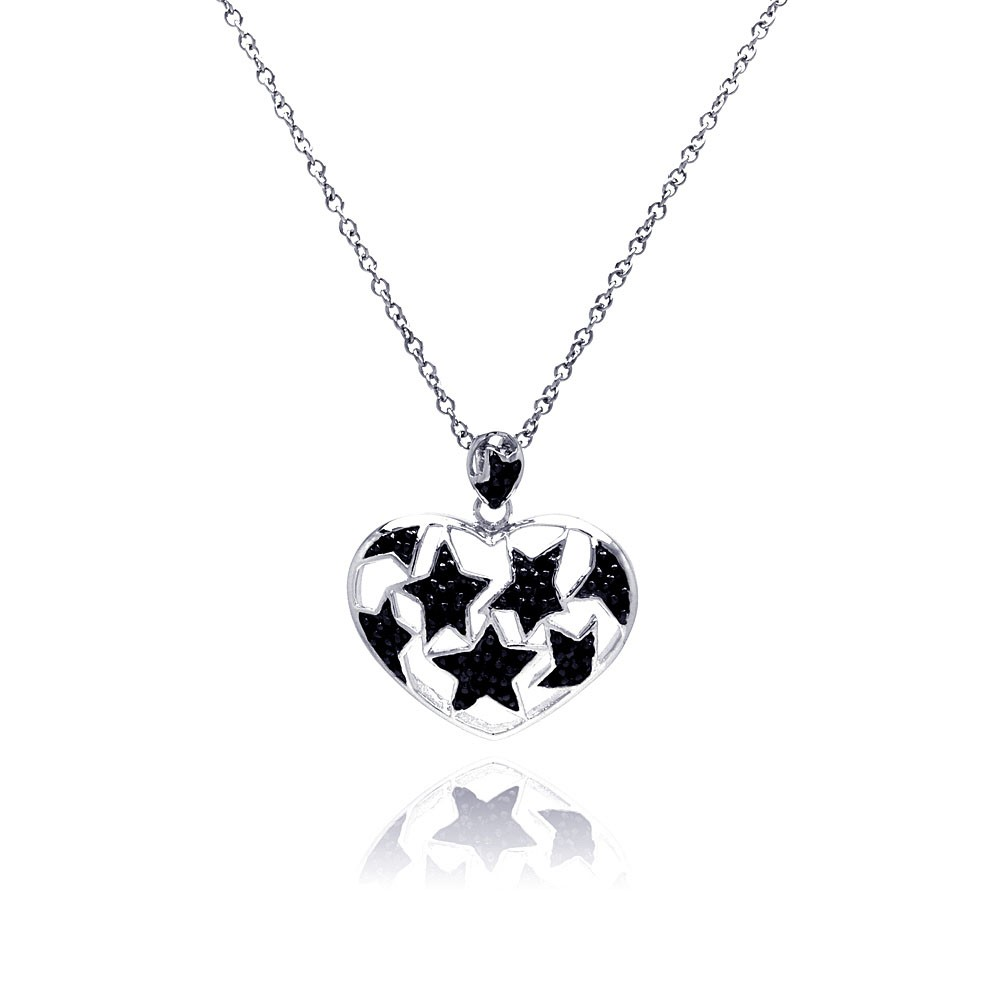 Wholesale Sterling Silver 925 Black Rhodium and Rhodium Plated Star Heart CZ Necklace - BGP00183