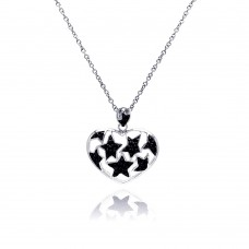 Sterling Silver Black Rhodium and Rhodium Plated Star Heart CZ Necklace - BGP00183