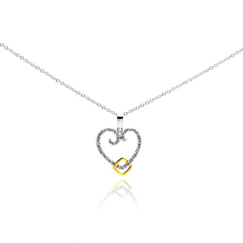 Wholesale Sterling Silver 925 Gold and Rhodium Plated Open Heart CZ Necklace - BGP00184