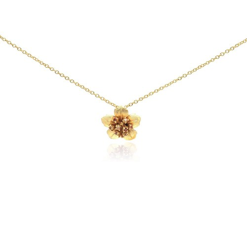 Wholesale Sterling Silver 925 Gold Plated Flower CZ Necklace - BGP00188