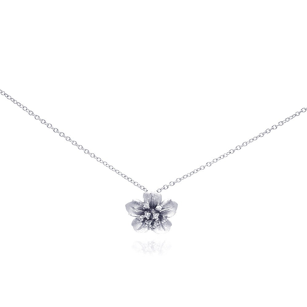 Wholesale Sterling Silver 925 Rhodium Plated Flower CZ Necklace - BGP00189