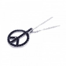 Sterling Silver Rhodium Open Black Peace Sign CZ Necklace - BGP00192