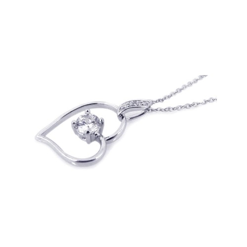 Wholesale Sterling Silver 925 Rhodium Open Heart Small Center Clear CZ Necklace - BGP00194