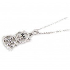 ***CLOSEOUT*** Sterling Silver Rhodium Open Bear CZ Necklace - BGP00195