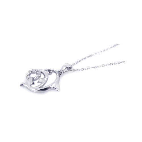 Wholesale Sterling Silver 925 Rhodium Open Dolphin CZ Necklace - BGP00196