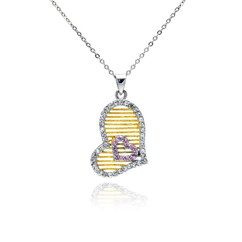 Wholesale Sterling Silver 925 Gold and Rhodium Four Toned Sideways Double Heart CZ Necklace - BGP00198