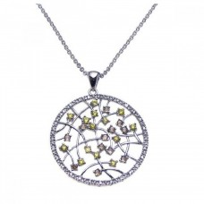 Sterling Silver Rhodium Open Circle Filigree Small Yellow and Clear CZ Necklace - BGP00201