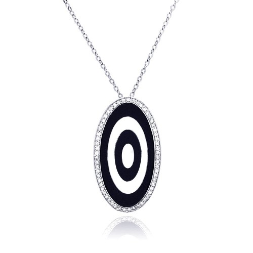 -Closeout- Wholesale Sterling Silver 925 Rhodium Oval Evil Eye CZ Necklace - BGP00204